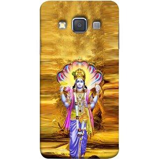 FUSON Designer Back Case Cover for Samsung Galaxy A3 (2015) :: Samsung Galaxy A3 Duos (2015) :: Samsung Galaxy A3 A300F A300Fu  A300F/Ds A300G/Ds A300H/Ds A300M/Ds (Krishna With Murli Sheshnag Morpankh Lotus Makhanchor)