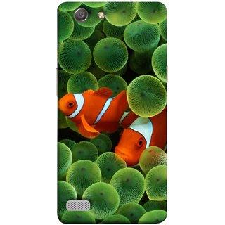 FUSON Designer Back Case Cover for Oppo Neo 7 :: Oppo A33 (White Orange Two Fish Water Salt Best Wallpapers Sea)