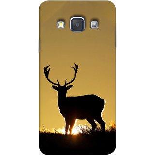 FUSON Designer Back Case Cover for Samsung Galaxy A3 (2015) :: Samsung Galaxy A3 Duos (2015) :: Samsung Galaxy A3 A300F A300Fu  A300F/Ds A300G/Ds A300H/Ds A300M/Ds (Adult Alone Animals Very Big Horns Looking Back)