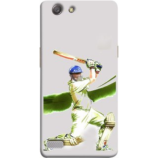FUSON Designer Back Case Cover for Oppo Neo 7 :: Oppo A33 (Cricket Bat Ball Helmet Green Ground Batsman)