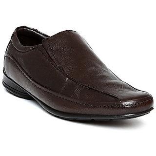Franco Leone Men'S Brown Formal Slip On Shoes