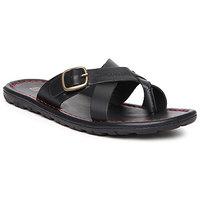 Franco Leone Men'S Black Slip On Sandals