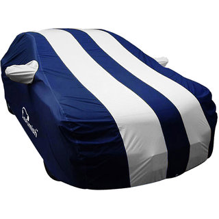 Autofurnish Stylish Silver Stripe Car Body Cover For Fiat Abarth Punto -  Arc Blue
