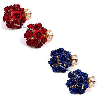 Jewels Galaxy Exclusive AD Floral Design Gold Plated Stud Earrings Collection For Women/Girls - Combo of 2