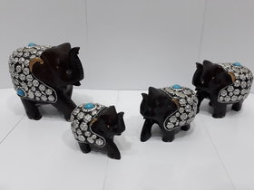 Metal figure elephant set of four