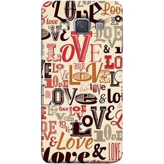 FUSON Designer Back Case Cover for Samsung Galaxy A7 (2015) :: Samsung Galaxy A7 Duos (2015) :: Samsung Galaxy A7 A700F A700Fd A700K/A700S/A700L A7000 A7009 A700H A700Yd (Red Black Only Love Grey Symbols Victory Brown )