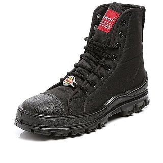e58d296dfb2b4c Unistar AntiSkid High Ankel Black Jungle Boots- Oil Stain Water Resistant-  Extra Cushion InnerSole -Light Weight Trekking Shoes- Order Free and Sweat  ...