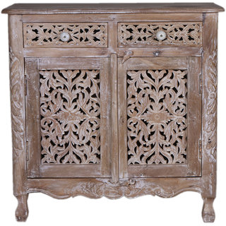 Jaitex Exports White And Brown Color Antique Wooden Cabinet With 2 Drawes And 1 Shelf 2 Boxes