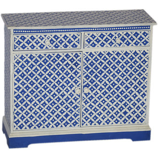 Jaitex Exports White And Blue Color Hand Painted Wooden Side Board With 2 Drawers And 3 Shelfs 4 Boxes