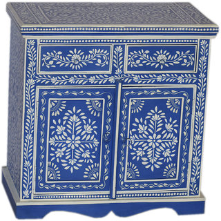 Jaitex Exports White And Blue Color Hand Painted Wooden Side Board With 2 Drawers And 1 Shelf 2 Boxes