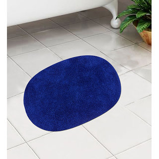 Blue Cotton 24 x 16 Inch Bath Mat - Set of 1