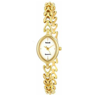 HWT Gold Analog Metal Quartz Oval watch for women