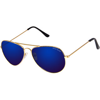 David Blake Blue Aviator Mirrored UV Protection Sunglass