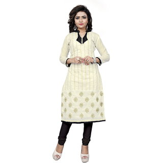 BanoRani Womens Off White Color Chanderi Embroidery Free Size UnStitched Dress Material(KUR-5059)