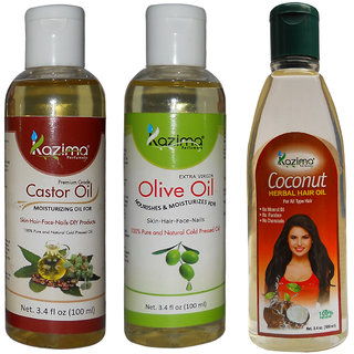 Buy KAZIMA Combo of Olive Oil + Castor Oil and Coconut ...