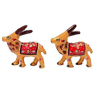 Royal Arts And Crafts Decorative Handmade Rajasthani Show Piece Of Metal Deer For Deacutecor Your Home And Gifting Pake Of -2