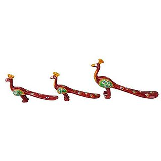 Royal Arts And Crafts Handmade Rajasthani Show Piece Of Peacock For Home Deacutecor And Gifting Pake Of- 3 ( Red )