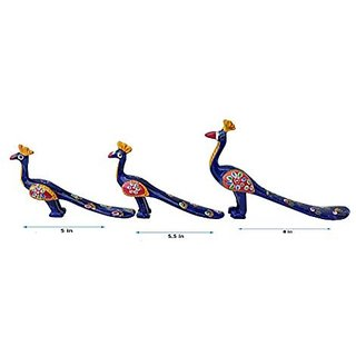 Royal Arts And Crafts Handmade Rajasthani Show Piece Of Peacock For Home Deacutecor And Gifting Pake Of- 3 ( Blue)
