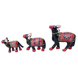 Royal Arts And Crafts Handmade Rajasthani Show Piece Of Caw For Home Deacutecor And Gifting Pake Of - 3 , ( Blue )