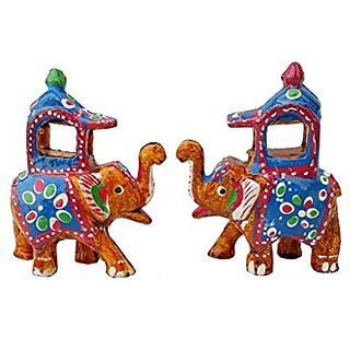 Royal Arts And Crafts Handmade Rajasthani Show Piece Of Ambabadi Elephant For Home Deacutecor And Gifting Pake Of- 2 , (2 in, Yellow )