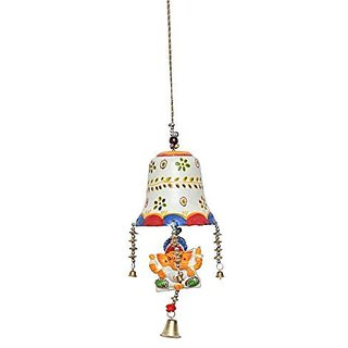 Royal Arts And Crafts Beautiful Handmade Rajasthani Bell Ganesha Door Hanging For Deacutecor Your Home ( White Color ) Pake Of-2