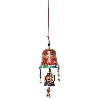 Royal Arts And Crafts Beautiful Handmade Rajasthani Bell Ganesha Door Hanging For Deacutecor Your Home ( Red Color ) Pake Of-2