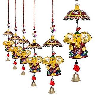 Royal Arts And Crafts Beautiful Handmade Rajasthani Special Home Deacutecorative Umbrella Ganesha Door Hanging Pake Of- 8 ,For Home Decor