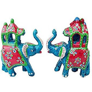 Royal Arts And Crafts Handmade Rajasthani Show Piece Of Ambabadi Elephant For Home Deacutecor And Gifting Pake Of- 2 ( 4 in ,Sky blue )