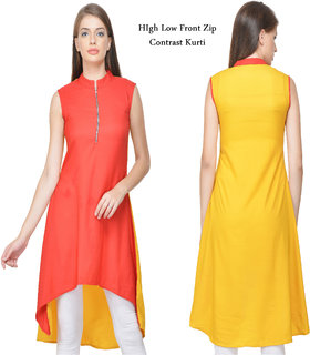 Front Zip High Low Kurti By Klick2Style