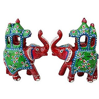 Royal Arts And Crafts Handmade Rajasthani Show Piece Of Ambabadi Elephant For Home Deacutecor And Gifting Pake Of- 2 (4 in, Red )
