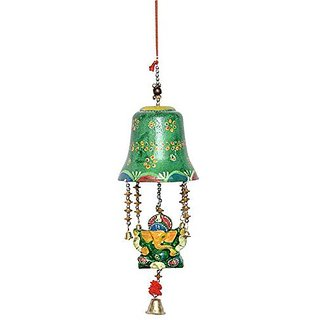 Royal Arts And Crafts Beautiful Handmade Rajasthani Bell Ganesha Door Hanging For Deacutecor Your Home ( Green Color ) Pake Of- 2