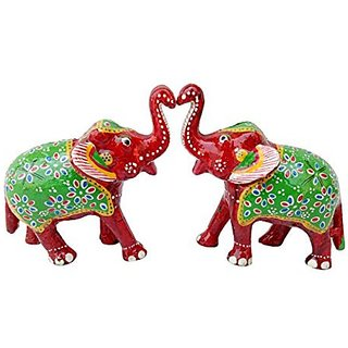 Royal Arts And Crafts Handmade Rajasthani Big Size Show Piece Of Elephant For Home Deacutecor And Gifting Pake Of -2 ( 6 in , Red )