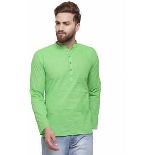 RG Designers Pista Green Cotton Plain Full Sleeve short Kurta for men