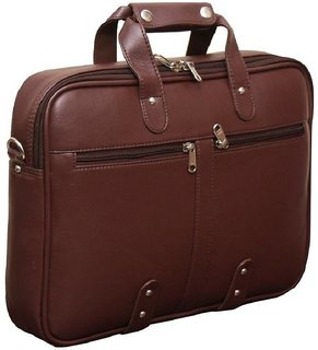 Home Story Synthetic Leather 15.6 Brown Laptop Briefcase