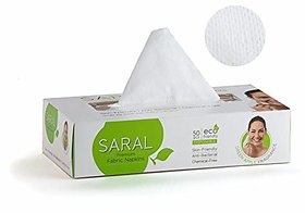 Saral Premium Fabric Napkin - 50 Pcs. pull out box , Dry Wipes Car Tissue, Pack of 2