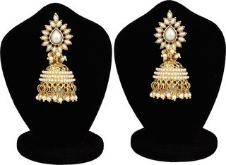 Fashion Jewels Exclusive Golden White Casual/Partywear/Dailywear/Wedding Pearl Jhumka/Jhumki Earrings For Girls/Woman