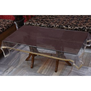 Khushi Creations Transparent Center Table Cover 4 Seater 40X60 Inches (Golden Lace)