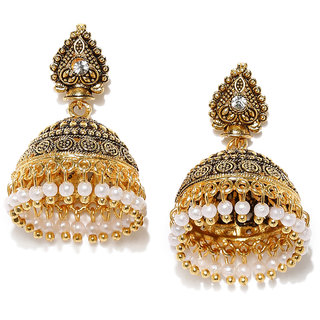 RUBANS  Gold Color Dome Shaped  Jhumkas