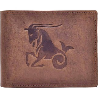 Tamanna Men Brown Genuine Hunter Leather Wallet  (8 Card Slots) Big Coin Pocket with Capricorn Zodiac sign