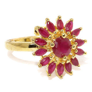 Rubans CZ Studded Ruby Micro Set Statement Ring