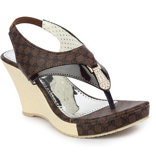 95754985182 Buy Ladies Sandal DIGNI Brown Wedges Heels (DDWF-B-25-BROWN-37) Online -  Get 1% Off