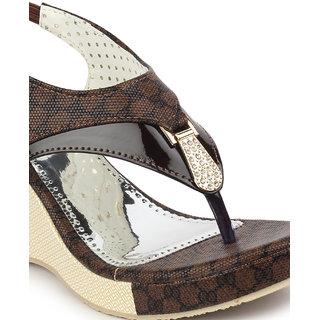 ffca317eb016 Buy Ladies Sandal DIGNI Brown Wedges Heels (DDWF-B-25-BROWN-39 ...