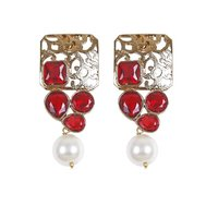 Rajwada Arts Fancy Earring With Red Stone And Pearl