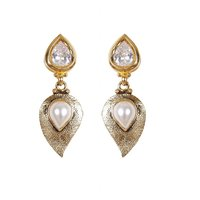 Rajwada Arts Fancy Drop Earrings With White Stone And American Diamond - 5241968