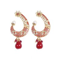 Rajwada Arts Fancy Earring With Red Stone And Pinkish Enamel