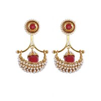 Rajwada Arts Fancy Red Color Drop Earring With White Stones