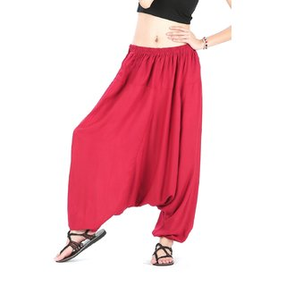 Rayon Red Harem Pants for Women