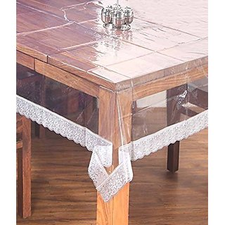 Khushi Creations Dining Table Cover Transparent 6 Seater 6090 Inches (White Lace)