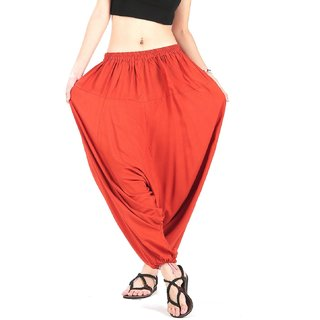 Rayon Orange Harem Pants for Women