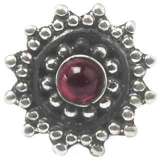 Rubans 925 Silver Oxidised Ruby Round Rawa Wire Nosepin